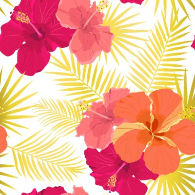Tapeta Vector tropical pattern with hibiscus flowers and tropical leaves. Floral background design for cosmetics, spa and textile.