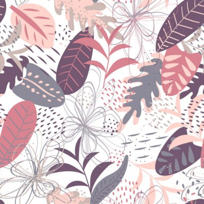 Tapeta Vector tropical seamless pattern in pastel pink and lilac colors. Elegant tropical background. Seamless texture with floral ornament for fabric, wallpaper, cover and more