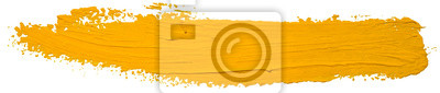 Tapeta Vector yellow oil brush stroke. Abstract varnish splash trace shape. Glossy oil paint smear long line on white background.