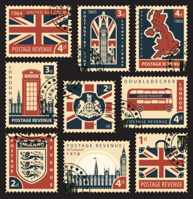 Tapeta Vector zestaw znaczków pocztowych z brytyjskiej flagi, uk map, uk Parlament, Londyn Big Ben, herby Anglii i Wielkiej Brytanii i innych brytyjskich symboli