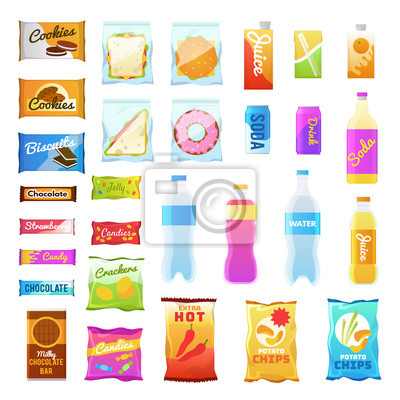 Tapeta Vending products. Beverages and snack plastic package, fast food snack packs, biscuit sandwich. Drinks water juice flat vector icons