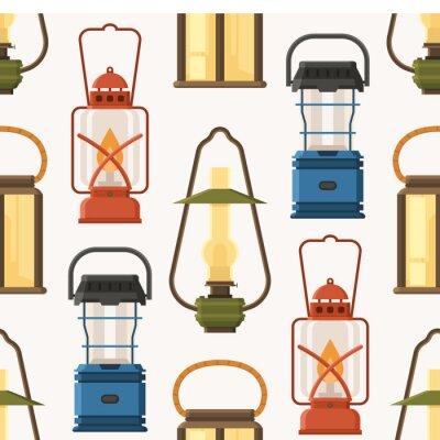 Tapeta Vintage camping latarnia wzór w płaskiej konstrukcji. Retro lamp naftowych i gazowych lampionów bezszwowy tło.