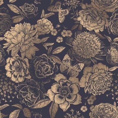 Tapeta Vintage floral seamless pattern. Peonies, roses and butterflies.