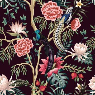 Tapeta Vintage garden tree, flower, leaves, exotic bird, floral seamless pattern dark background. Exotic chinoiserie wallpaper.