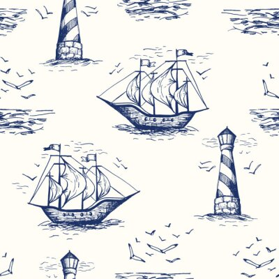 Tapeta Vintage Hand-Drawn Nautical Toile De Jouy Vector Seamless Pattern with Lighthouse, Seagulls, Seaside Scenery and Ships