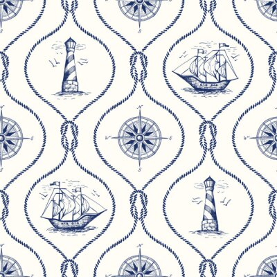 Tapeta Vintage Hand-Drawn Rope Ogee Vector Seamless Pattern with Lighthouse, Sea Compass, Ship and Nautical Reef Knot.