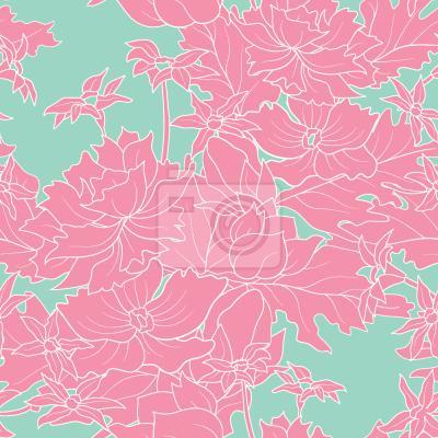 Tapeta Vintage Kwiaty Różowe