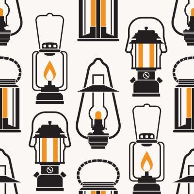 Tapeta Vintage latarnie wzór w trybie monochromatycznym. Różne lampy naftowe i retro latarnie bezszwowe tło w stylu konspektu.