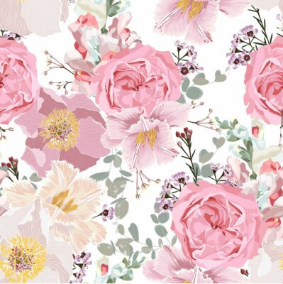 Tapeta Vintage luxury seamless pattern with detailed hand drawn flowers - blooming peony, roses, tulips and herbs.