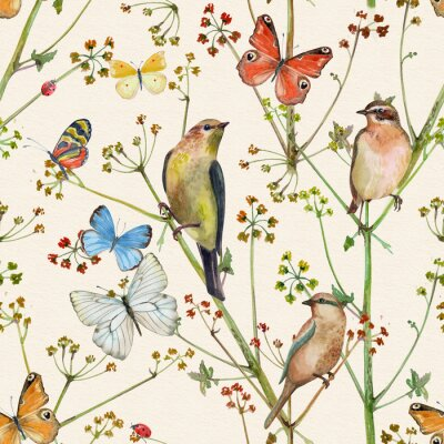 Tapeta vintage nature seamless texture with birds and butterflies. watercolor painting