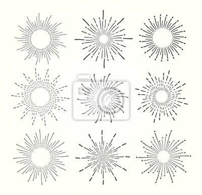 vintage, ręcznie rysowane starbursts