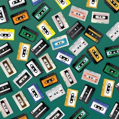 Tapeta Vintage Retro Cassette Tape Pattern Design Template Vector Illustration