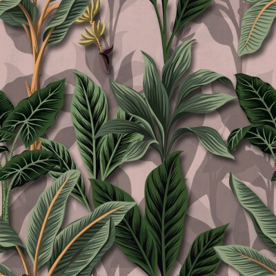 Tapeta Vintage tropical palm trees banana tree seamless floral pattern pink background. Wallpaper exotic plant jungle.