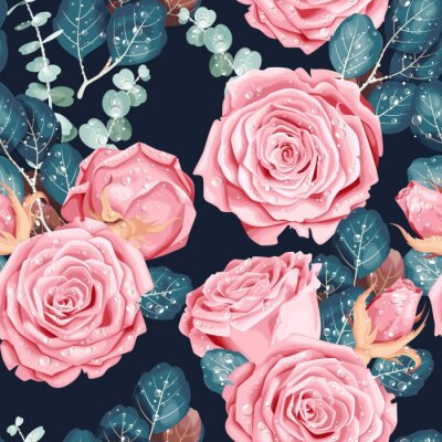 Tapeta Vintage vector seamless pattern with pink roses