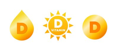 Tapeta Vitamin D icon set. Vitamin D sources: sun, food and nutrition supplements. Yellow drop, sunshine and pill. Health benefits and immune system. Vitamin D deficiency. Vector illustration, flat, clip art
