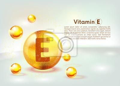 Tapeta Vitamin E gold shining icon. Ascorbic acid. Shining golden substance drop. Nutrition skin care. Vector.
