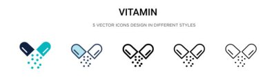 Tapeta Vitamin icon in filled, thin line, outline and stroke style. Vector illustration of two colored and black vitamin vector icons designs can be used for mobile, ui,