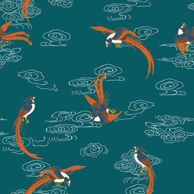 Tapeta W chińskiej sztuce rajskie muchołówki reprezentują długowieczność. Jest to dobre błogosławieństwo, w którym pragnie się osamotnienia.