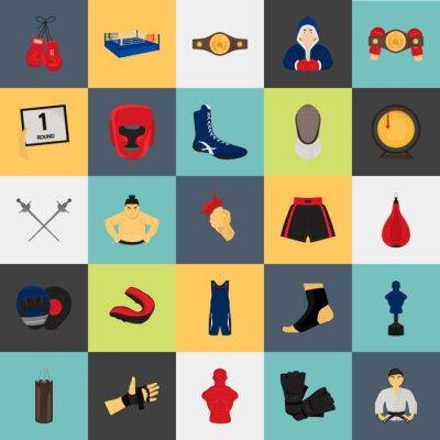 Tapeta Walka kolorów sportowa płaska Zestaw ikon dla sieci web i projektowania mobilnych