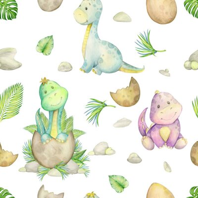 Tapeta watercolo, seamless pattern. little dinosaur. isolated