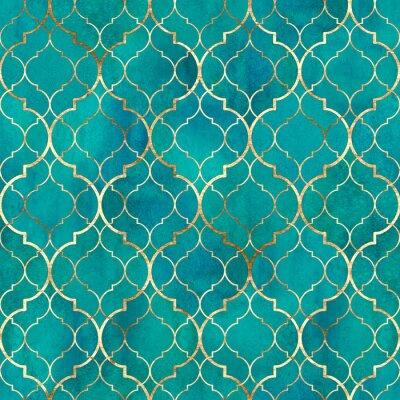 Tapeta Watercolor abstract geometric seamless pattern. Arab tiles. Kaleidoscope effect. Watercolour vintage mosaic texture