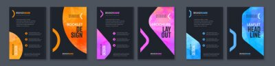 Tapeta Watercolor booklet brochure colourful abstract cover template bundle set with black background