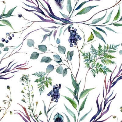 Tapeta Watercolor Botanical Greneery Pattern