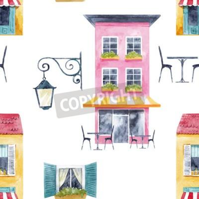 Tapeta Watercolor building  vector pattern