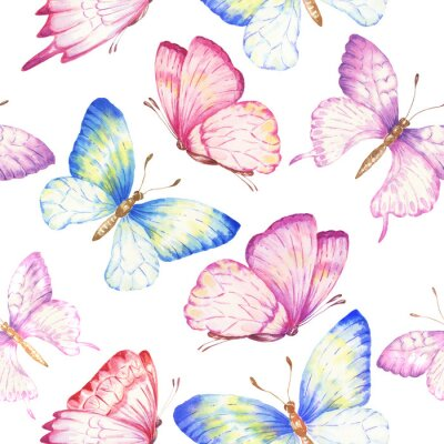 Tapeta Watercolor butterflies seamless pattern, repeating background. Hand drawn botanical illustration.