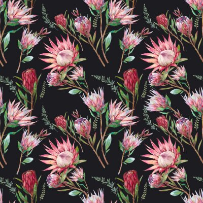 Tapeta Watercolor flowers seamless pattern. Floral hand painted ornament on black background. Botanical texture design with leaves and plants