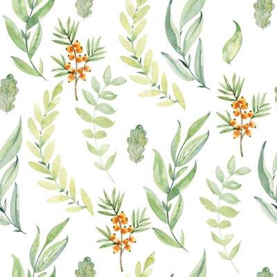 Tapeta Watercolor forest pattern.