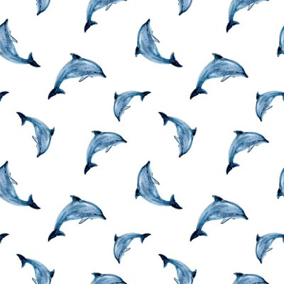 Tapeta Watercolor hand drawn dolphin isolated seamless pattern.