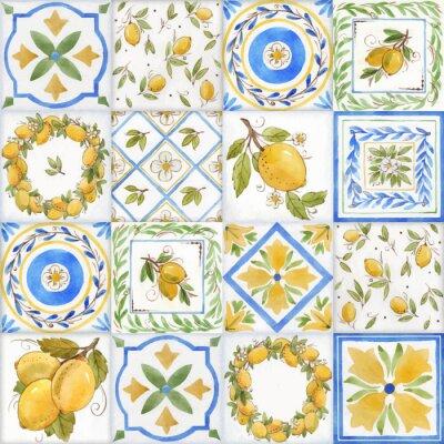 Tapeta Watercolor ornament square vector pattern
