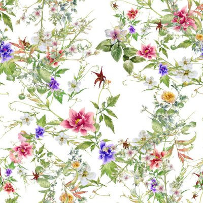 Tapeta Watercolor painting of leaf and flowers, seamless pattern on white background