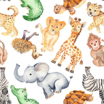 Tapeta Watercolor pattern with cute cartoon animals of Africa. Texture for wallpaper, packaging, scrapbooking, textiles, fabrics, children's clothing and design.