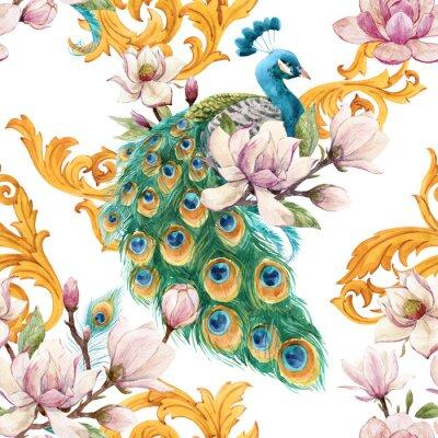 Tapeta Watercolor peacock pattern