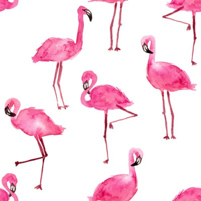 Tapeta watercolor pink flamingos. hand drawn seamless pattern on a white background