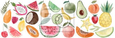 Tapeta Watercolor Pitaya, banana, coconut, watermelon, papaya, lemon, mango, raspberry, cherry, grapefruit, carambola, avocado, peach, pineapple, melon, strawberry, pear, lime, apple, orange, watermelon,kiwi