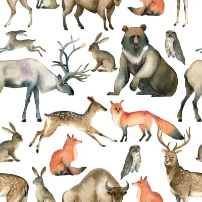 Tapeta Watercolor realistic forest animal sketch. Seamles pattern about red fox, hare, brown bear, deer, elk, owl, bison, stag