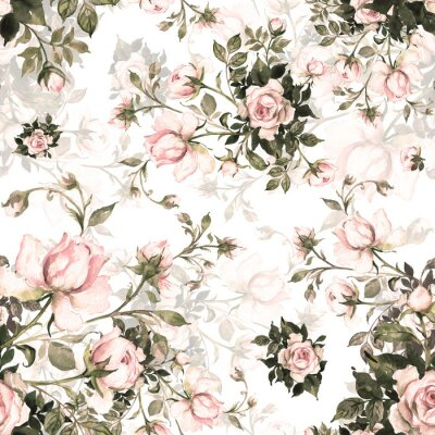 Tapeta  Watercolor seamless pattern bouquet of roses in bud