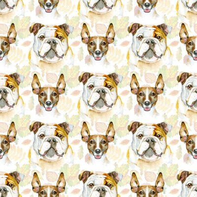 Tapeta Watercolor seamless pattern of bulldog and jack russell terrier. Pet, puppy background. Animal wallpaper.