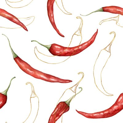Tapeta Watercolor seamless pattern of linear chilli. Hand painted gold peppers isolated on white background. Autumn harvest festival. Botanical illustration for design, print or background.