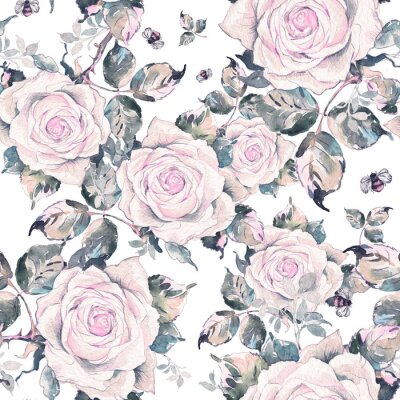 Tapeta Watercolor seamless pattern of roses and bumblebees