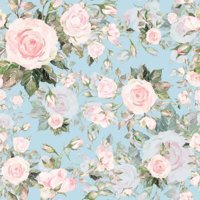 Tapeta Watercolor seamless pattern of roses with buds-7