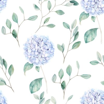 Tapeta Watercolor seamless pattern. Vintage print with hortensia flowers and eucalyptus branches. Hand drawn illustration