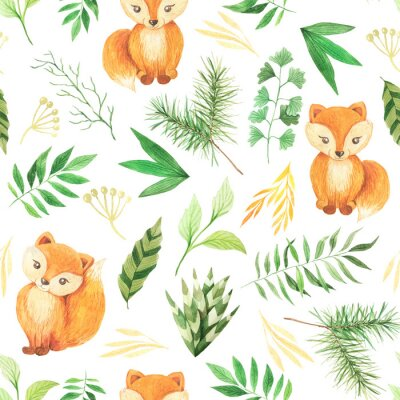 Tapeta Watercolor seamless pattern with cute foxes