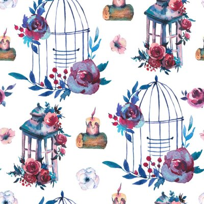 Tapeta Watercolor seamless pattern with red rose, wildflowers, berries, leaves, candle and cage