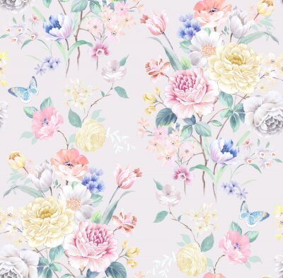 Tapeta Watercolor seamless pattern with rose flowers. Perfect for wallpaper, fabric design, wrapping paper, surface textures, digital paper.