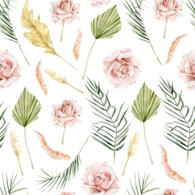 Tapeta Watercolor tropical floral and flower seamless pattern in boho style. Bohemian dried botanical . Rose, pampas graas, palm, leaves for wedding invintation,poster, banner, t-shirt print, textile fabric,