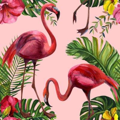 Tapeta Watercolor tropical wildlife, flamingo bird, seamless pattern. Hand Drawn jungle nature, flowers illustration. Print for textile, cloth, wallpaper, scrapbooking